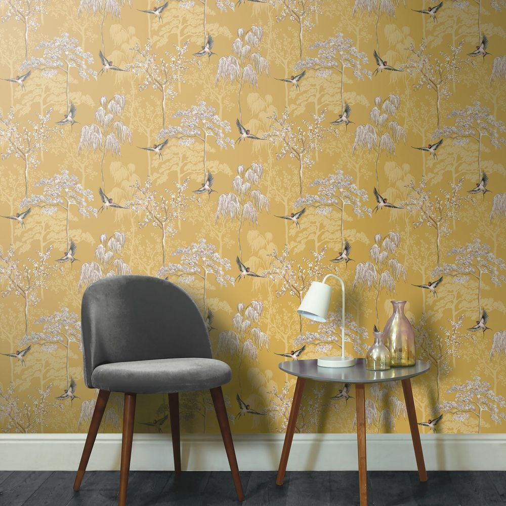 Japanese Garden Wallpaper - Ochre - by Arthouse