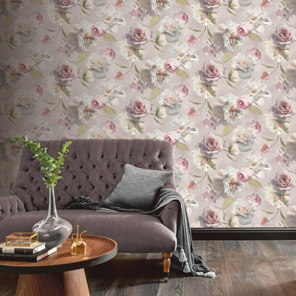 Chelsea Garden Wallpaper - Blush - by Arthouse