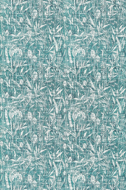 Violet Grasses Fabric - Cobalt - by Sanderson