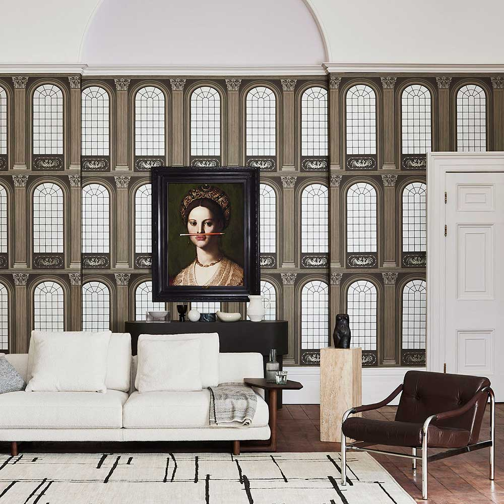 Verrio Mirrors Wallpaper - Soot / Metallic Silver - by Cole & Son