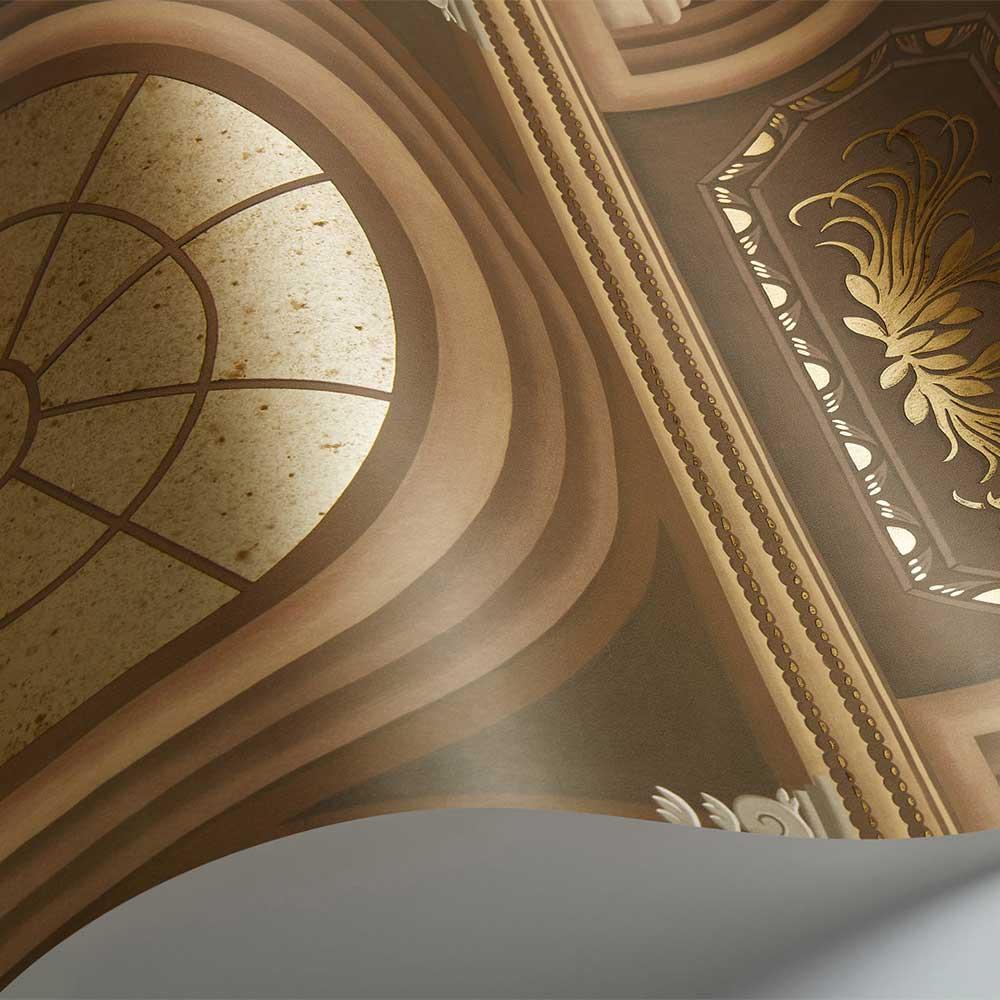 Verrio Mirrors Wallpaper - Cedar / Metallic Gilver - by Cole & Son