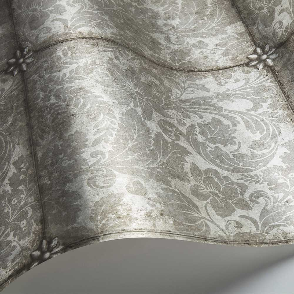 King's Argent Wallpaper - Metallic Silver Foil - by Cole & Son