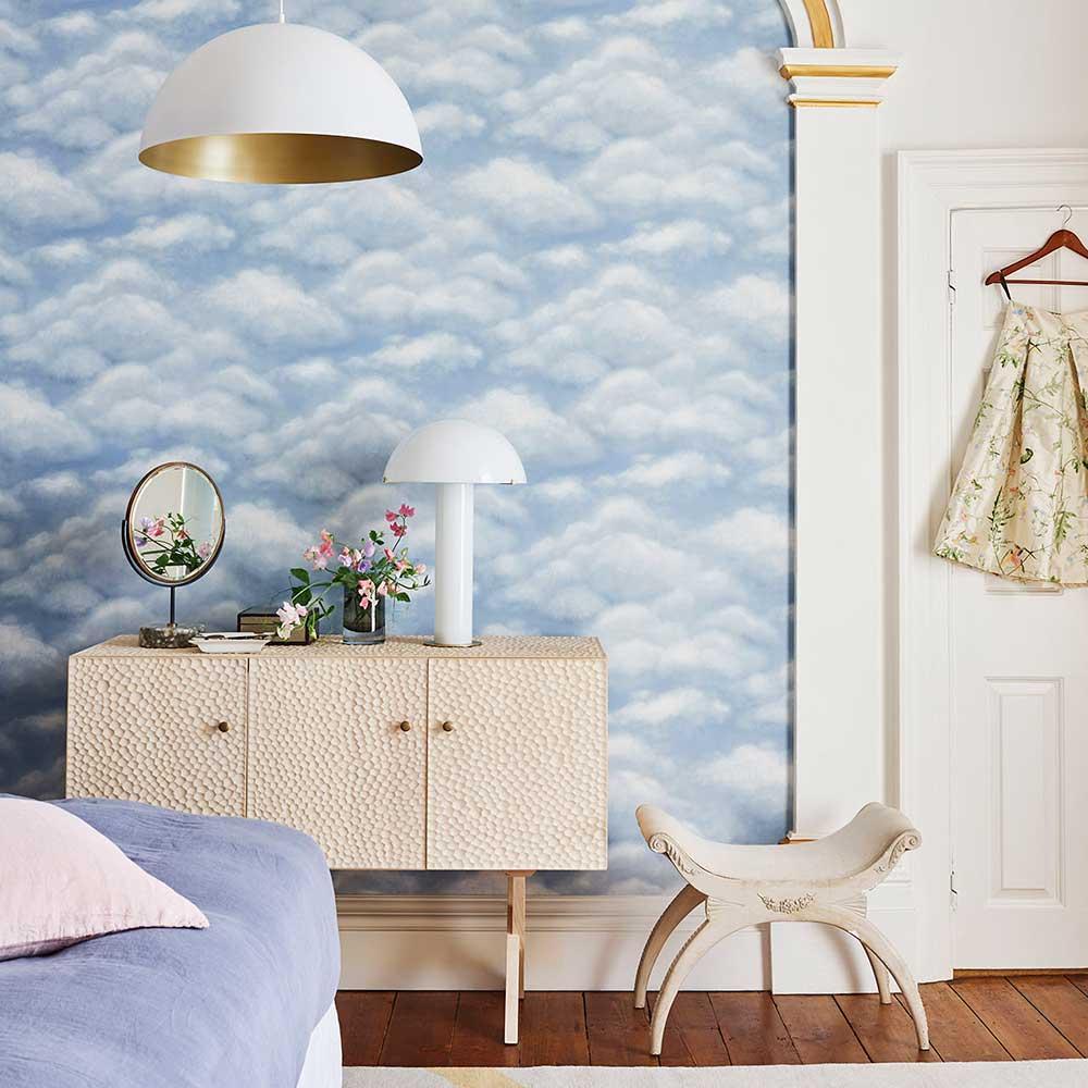 Fresco Sky Wallpaper - Sky Blue - by Cole & Son