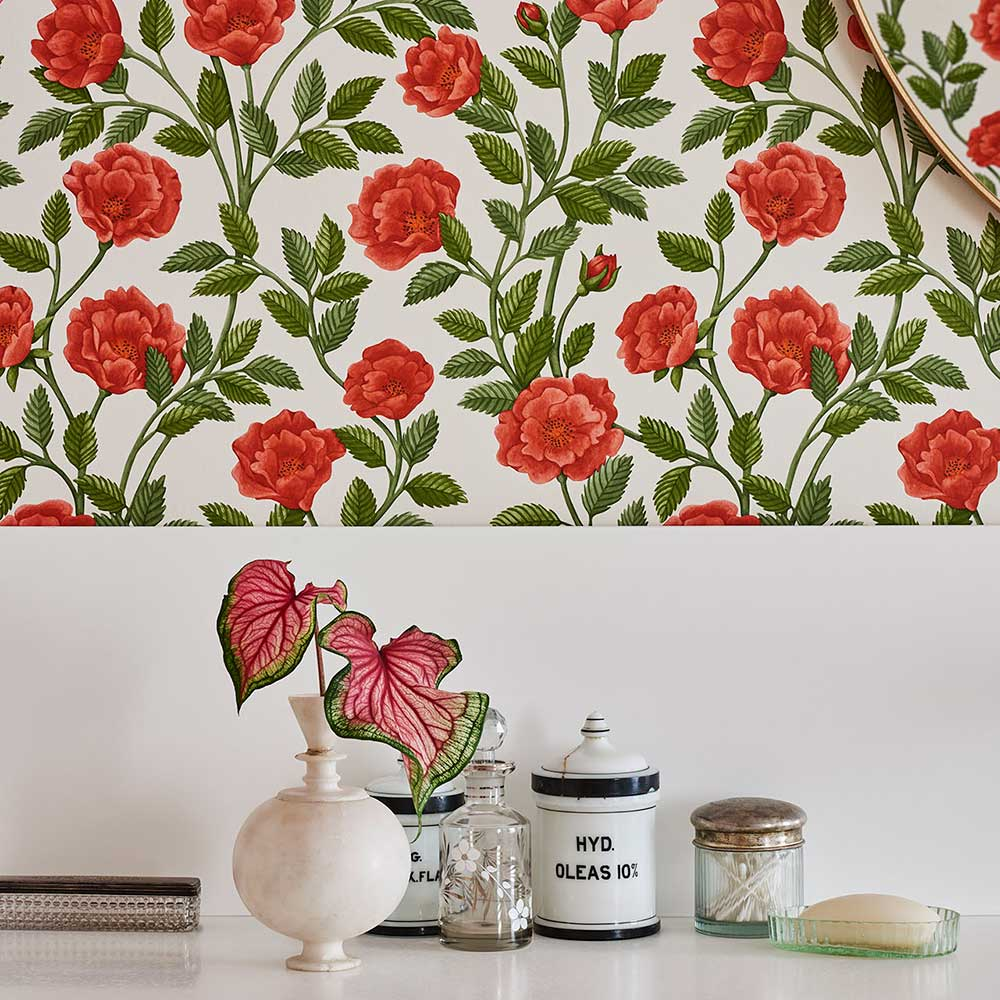 Hampton Roses Wallpaper - Rouge / Spring Green - by Cole & Son
