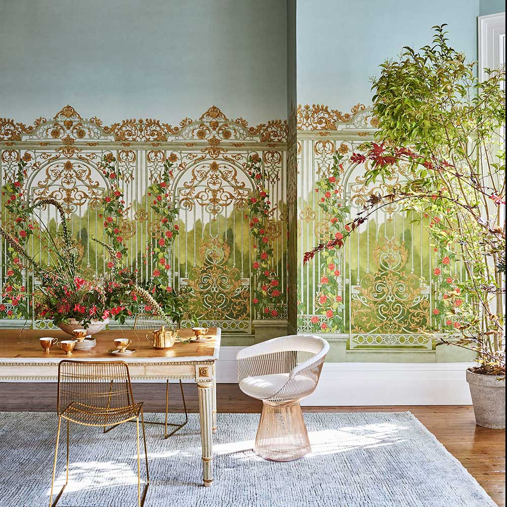 Tijou Gate Panel Mural - Spring Green / Soft Olive - by Cole & Son