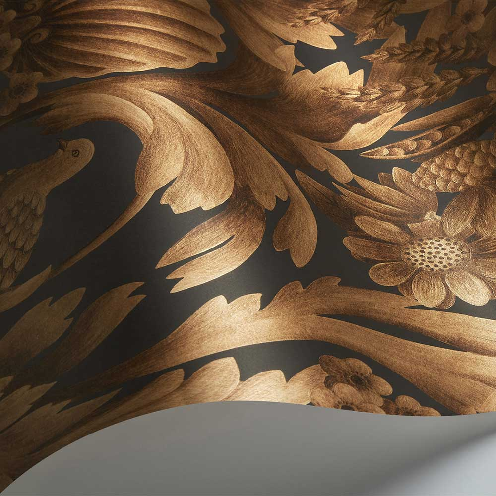 Gibbons Carving Wallpaper - Metallic Bronze / Charcoal - by Cole & Son