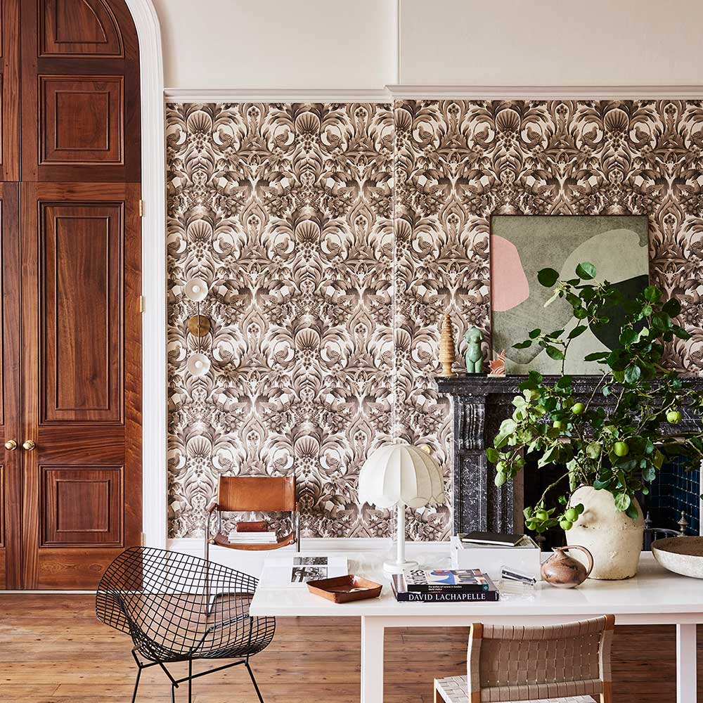 Gibbons Carving Wallpaper - Soot / Stone - by Cole & Son