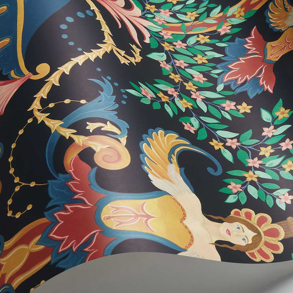 Chamber Angels Wallpaper - Denim / Red / Marigold / Ink - by Cole & Son