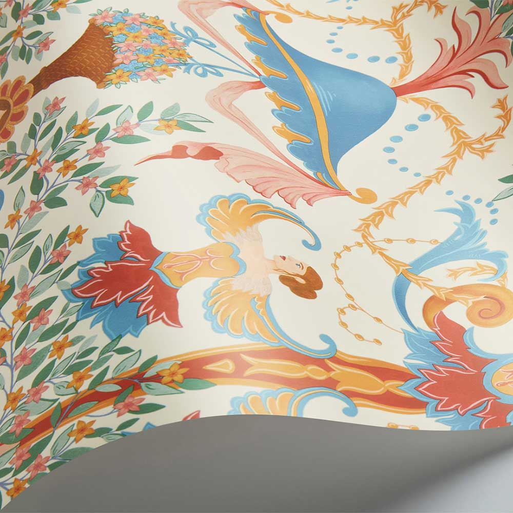 Chamber Angels Wallpaper - Cerulean Sky / Rouge / Marigold / Parchment - by Cole & Son