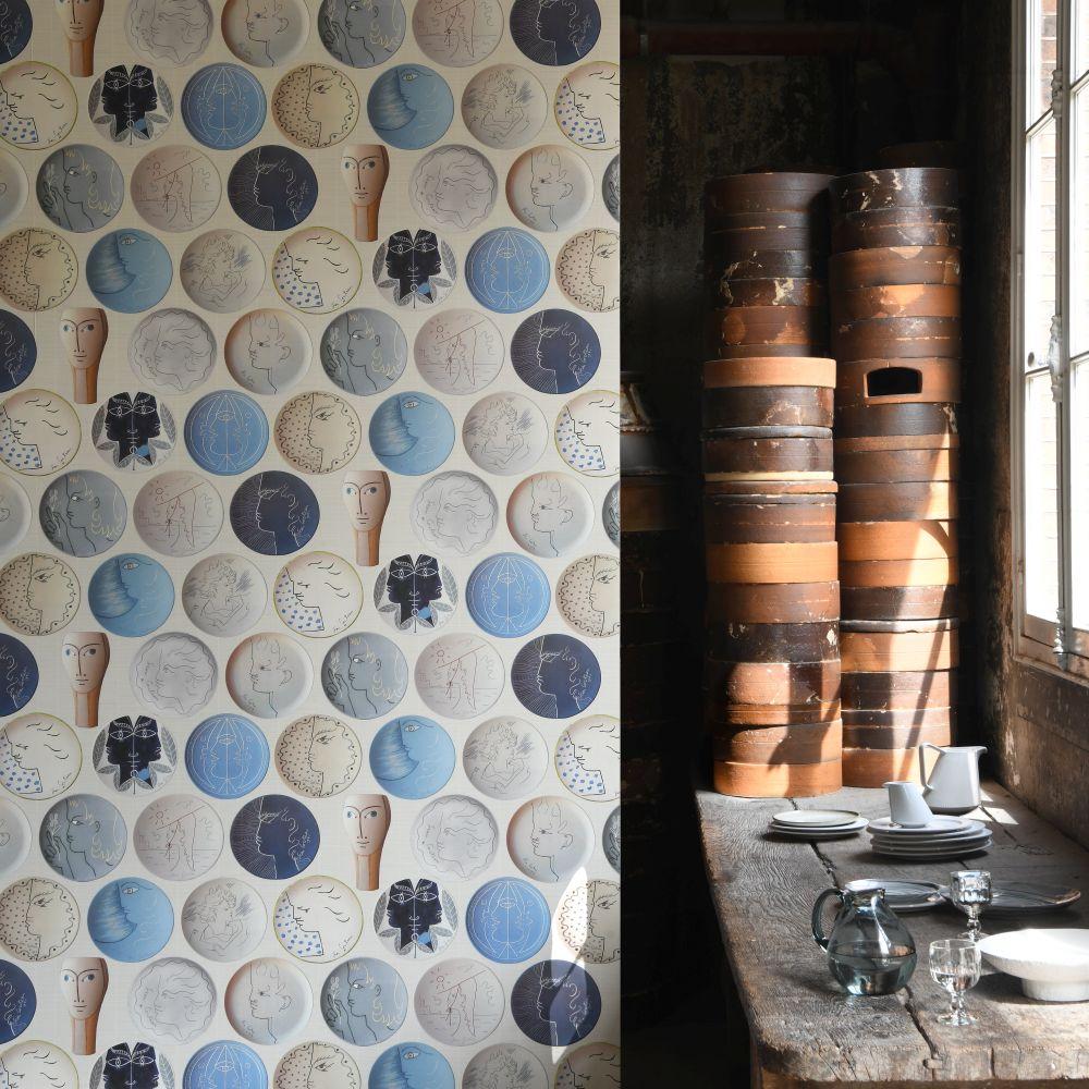 Poteries Wallpaper - Kaolin - by Lelievre