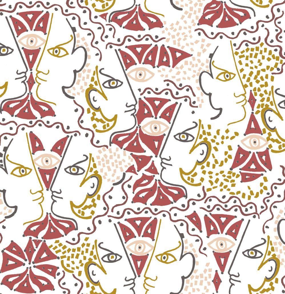 Union Wallpaper - Terracotta - by Lelievre