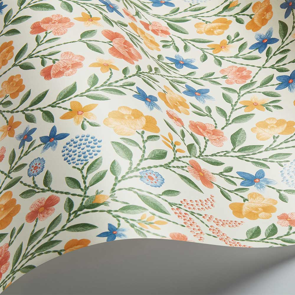 Court Embroidery Wallpaper - Coral / Marigold / Hyacinth / Parchment  - by Cole & Son