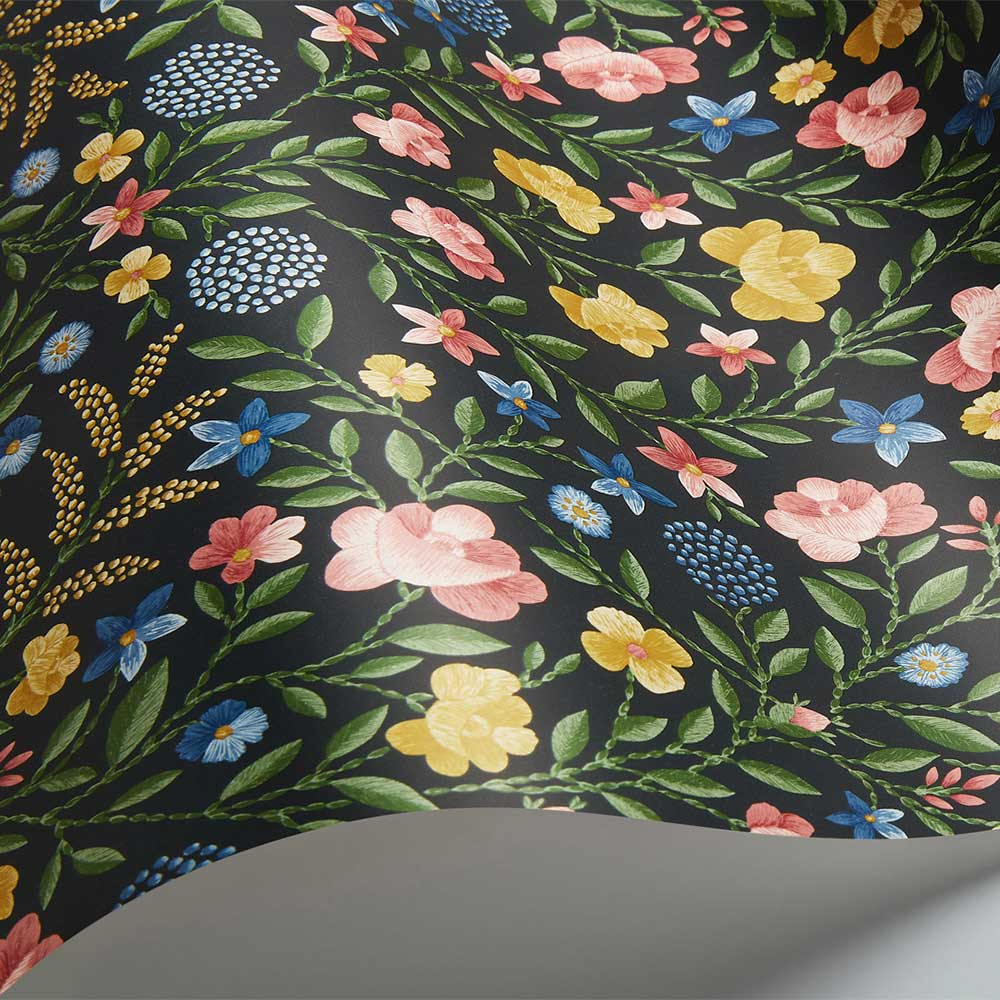 Court Embroidery Wallpaper - Yellow / Rose / Hyacinth Blue / Charcoal  - by Cole & Son
