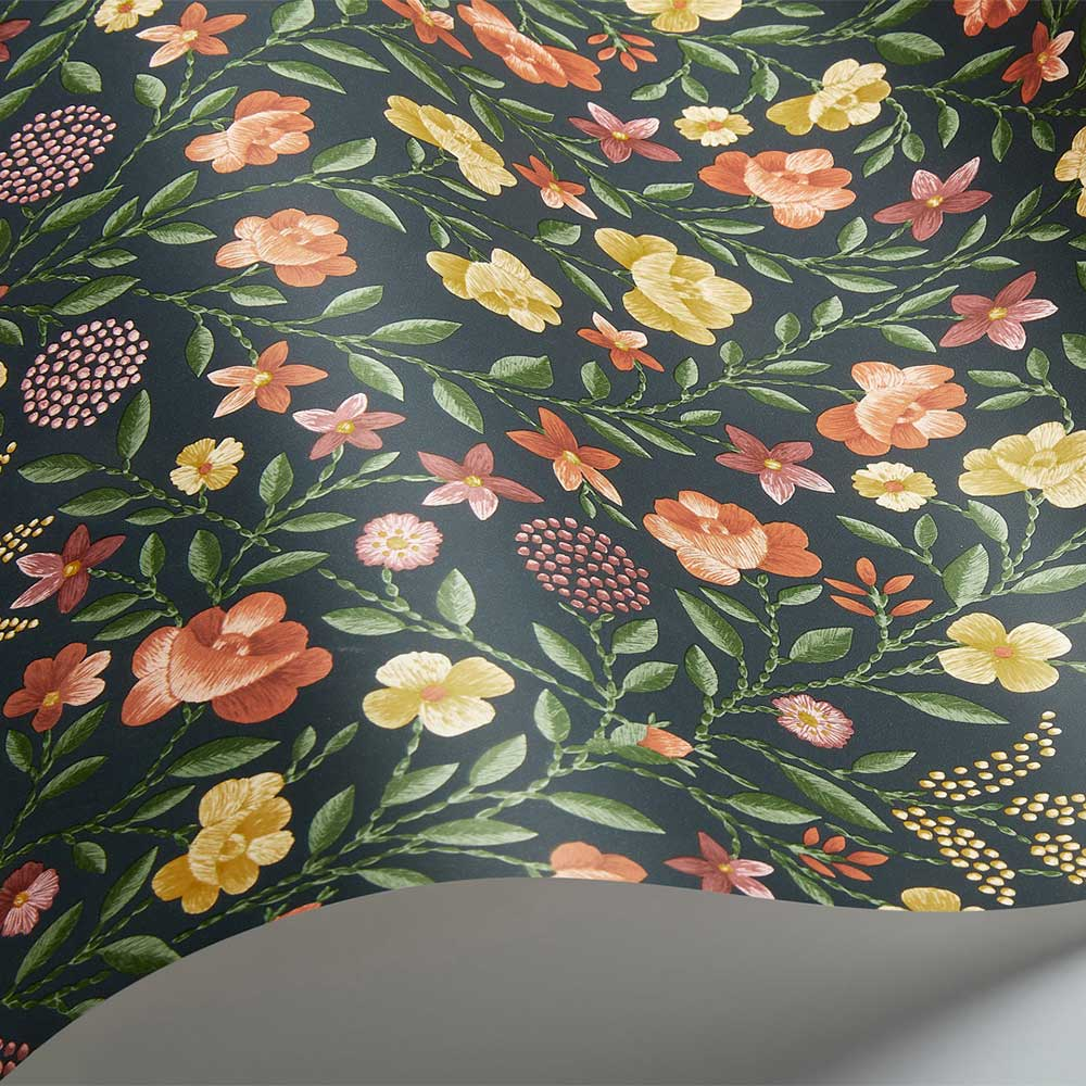 Court Embroidery Wallpaper - Marigold / Tangerine / Red / Charcoal  - by Cole & Son