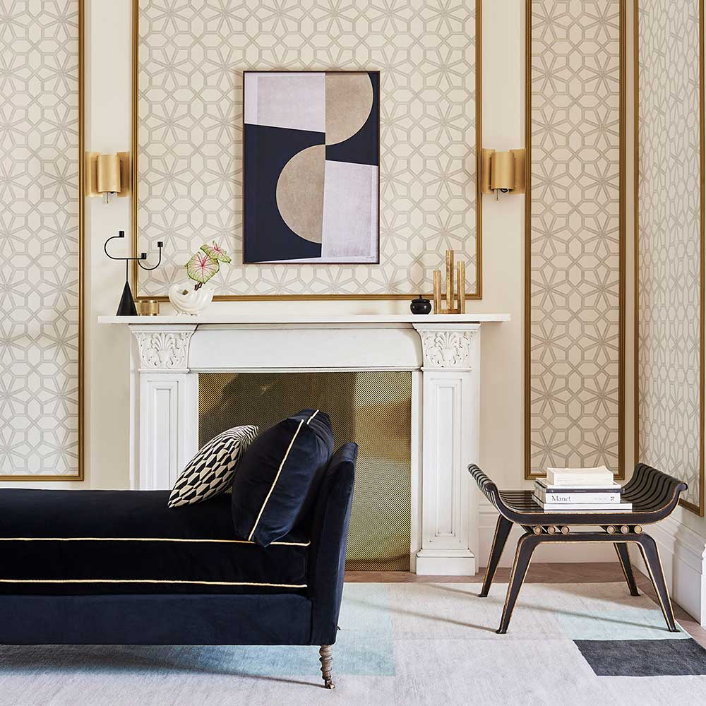 Wolsey Stars Wallpaper - Soot / Snow - by Cole & Son