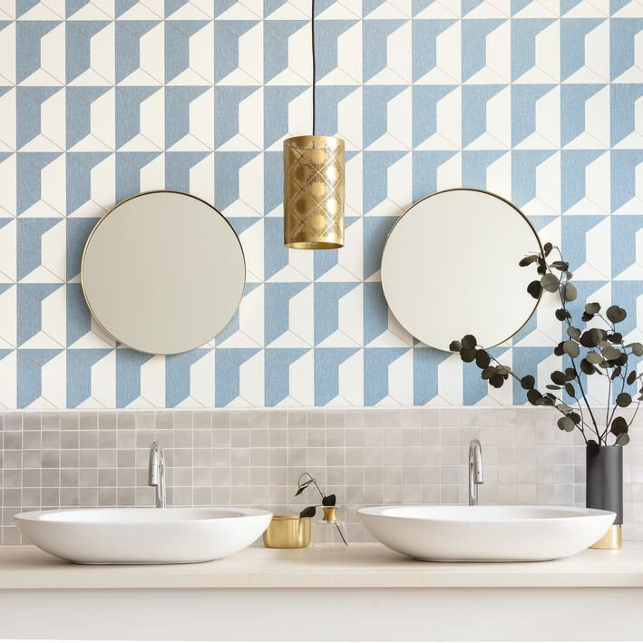 Rythm  Wallpaper - Blue - by Caselio