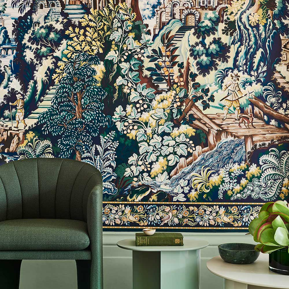 Verdue Tapestry Panel Mural - Viridian / Teal / Ink / Chartreuse - by Cole & Son