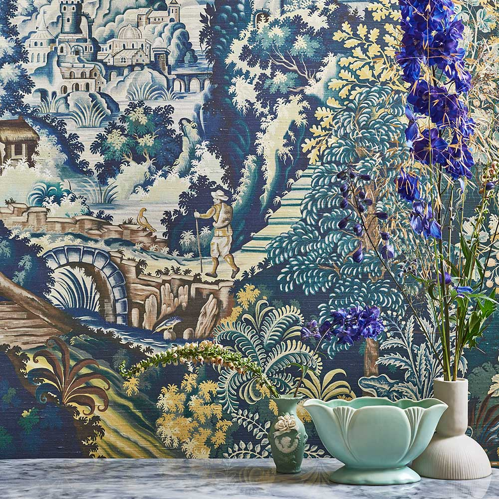 Verdue Tapestry Silk Panel Mural - Petrol / Teal /  Seafoam / Lemon - by Cole & Son