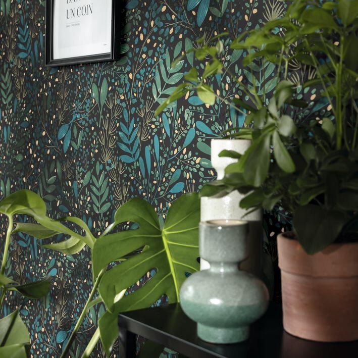 Joy Wallpaper - Dark Green - by Caselio