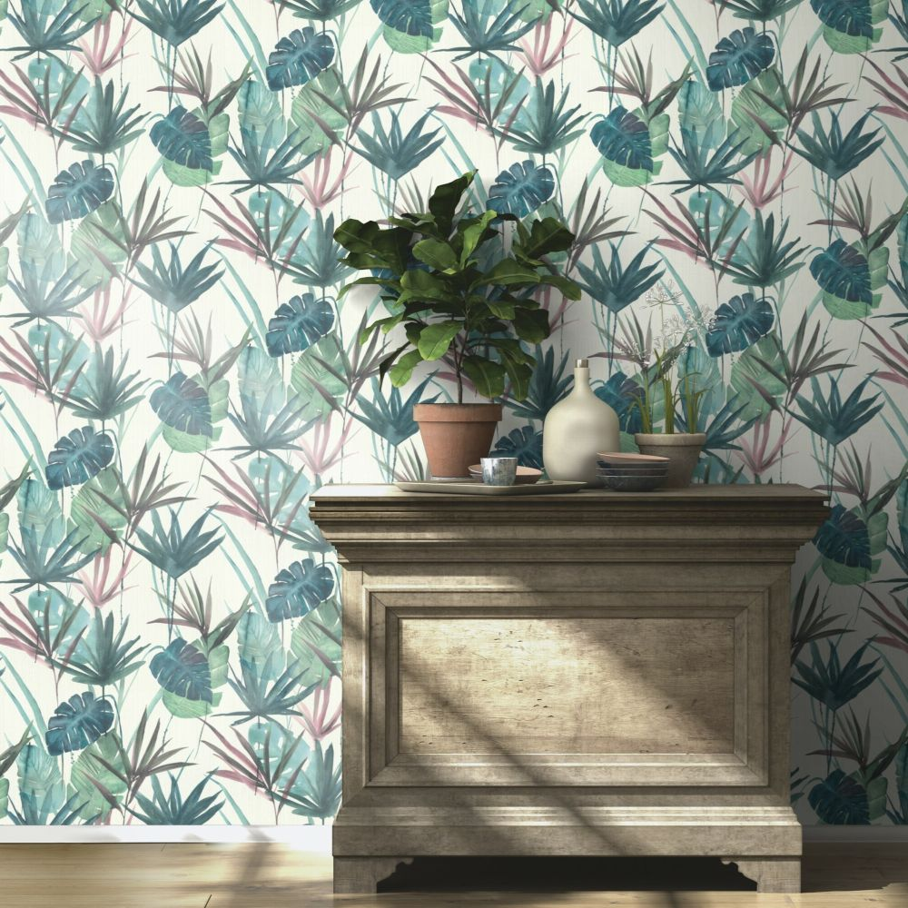 Gentle Leaves Wallpaper - Aqua - by Albany