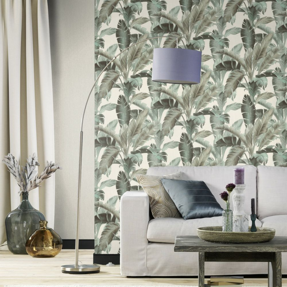Deep Jungle Wallpaper - Grey - by Albany