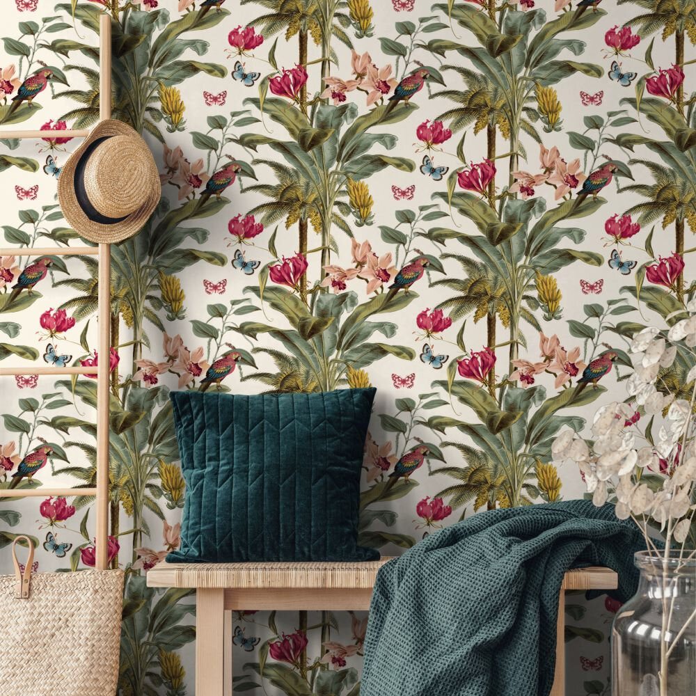 Tropical Palm Wallpaper - Red Multi - by Albany