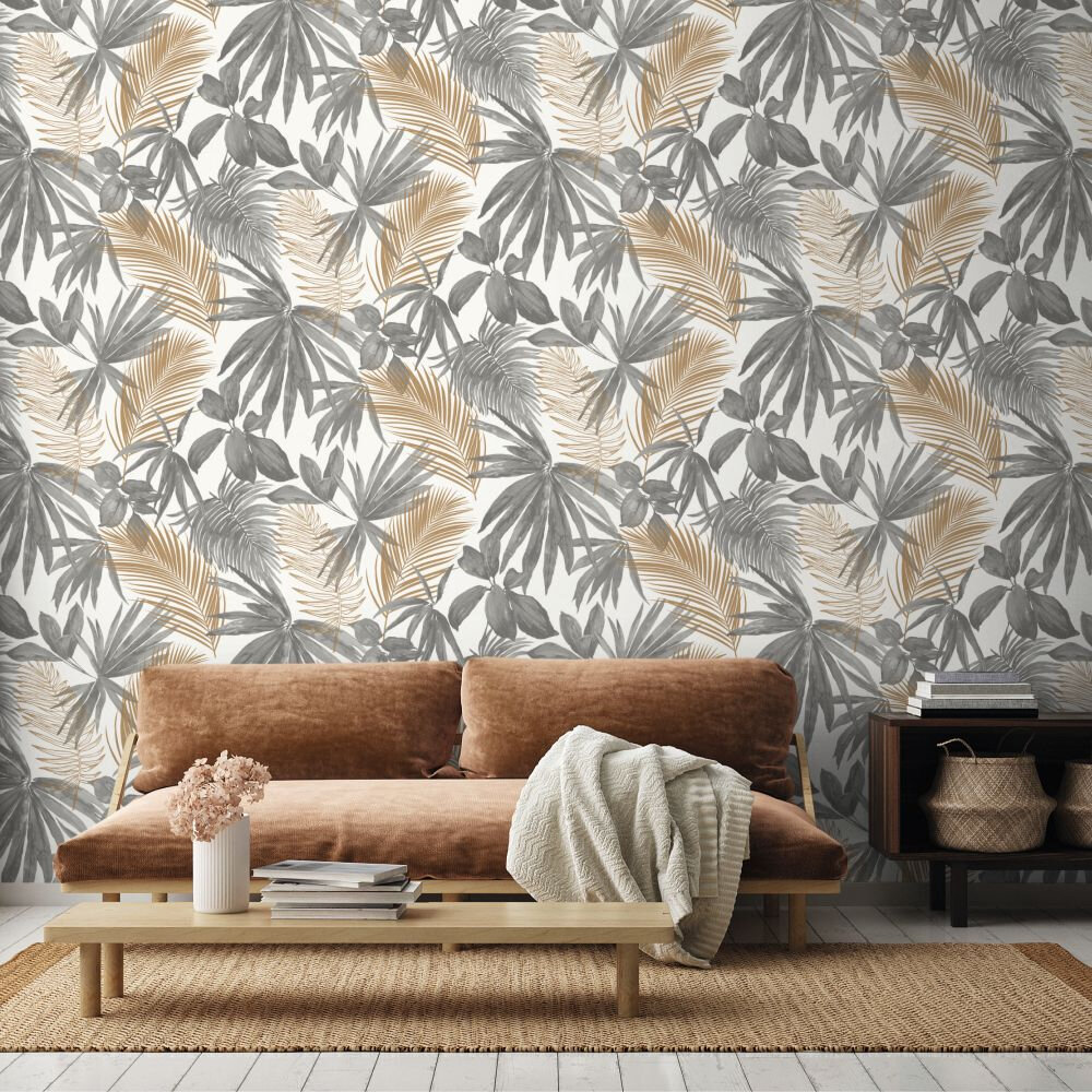 Wild Palms Wallpaper - Grey - by Albany