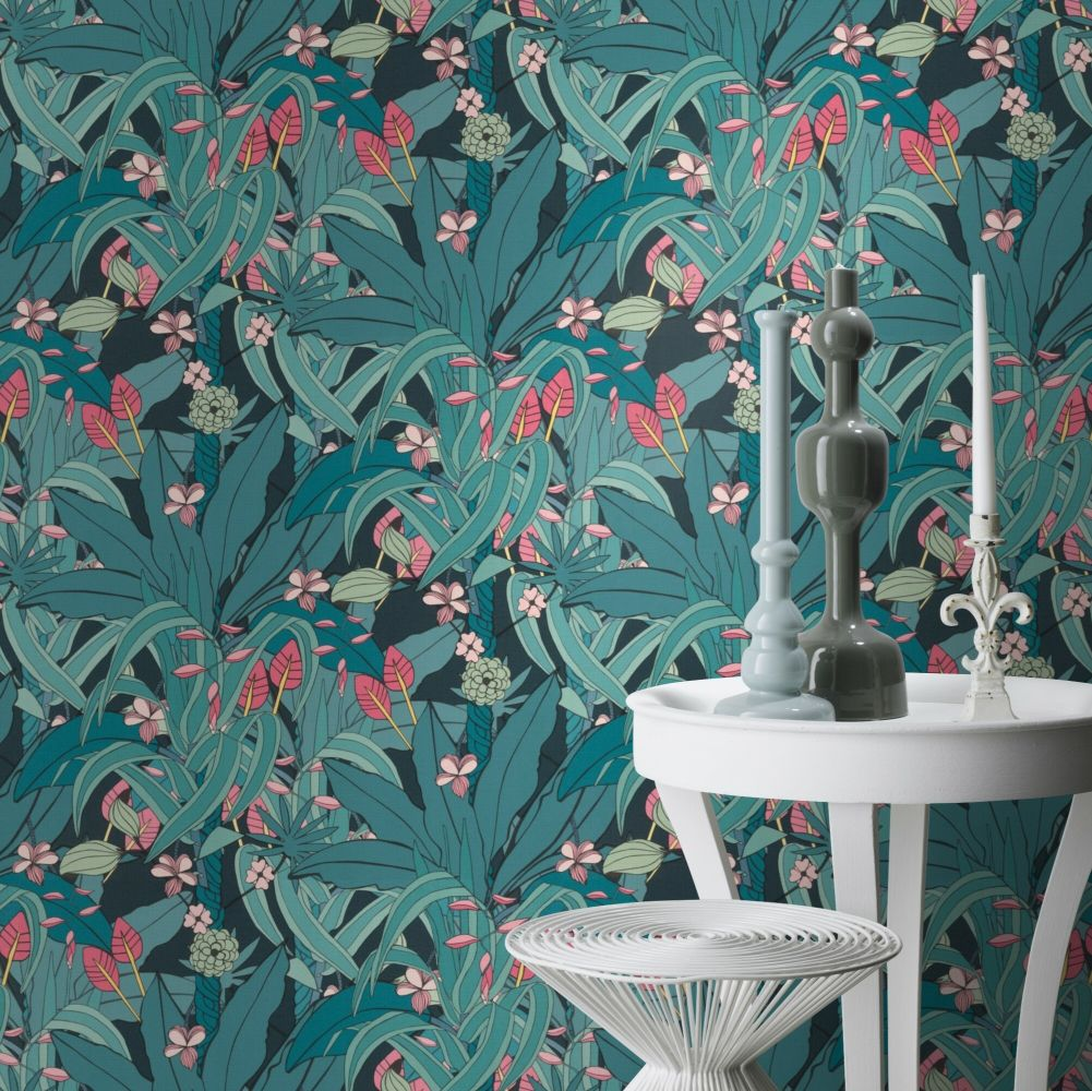 Lush Garden Wallpaper - Blue - by Albany