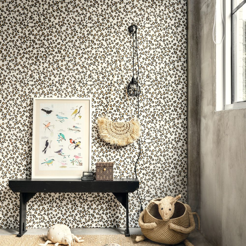 Leopard Print Wallpaper - Gold - by Albany