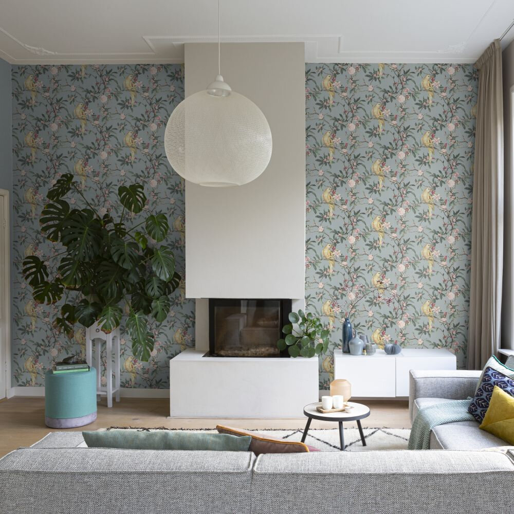 Pretty Polly Wallpaper - Baby Blue - by Albany