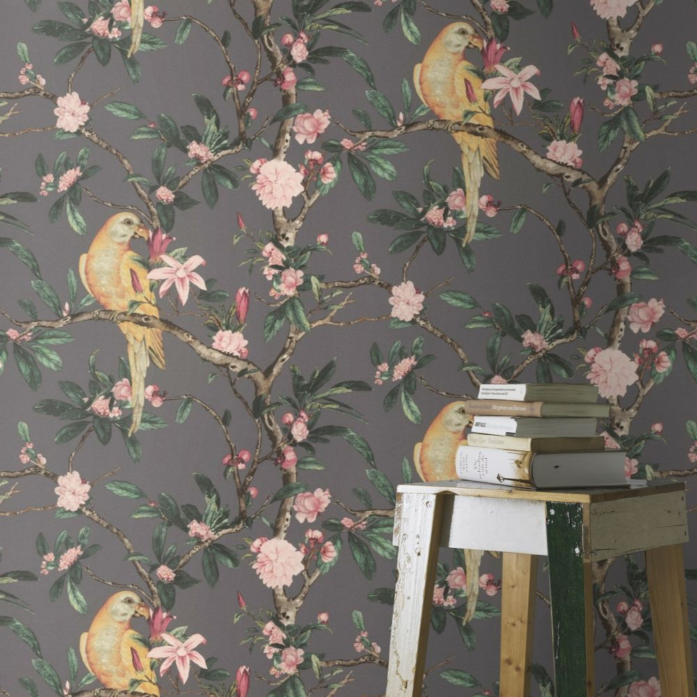 Pretty Polly Wallpaper - Slate - by Albany