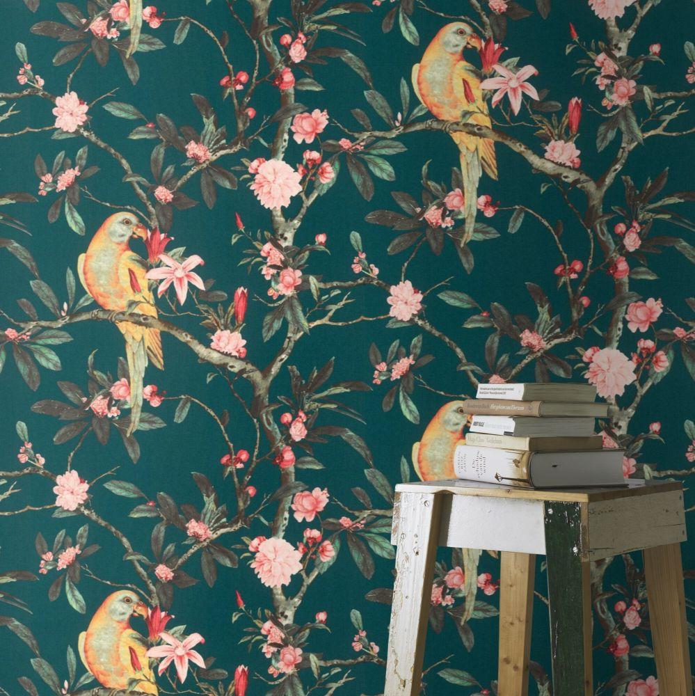 Pretty Polly Wallpaper - Navy - by Albany