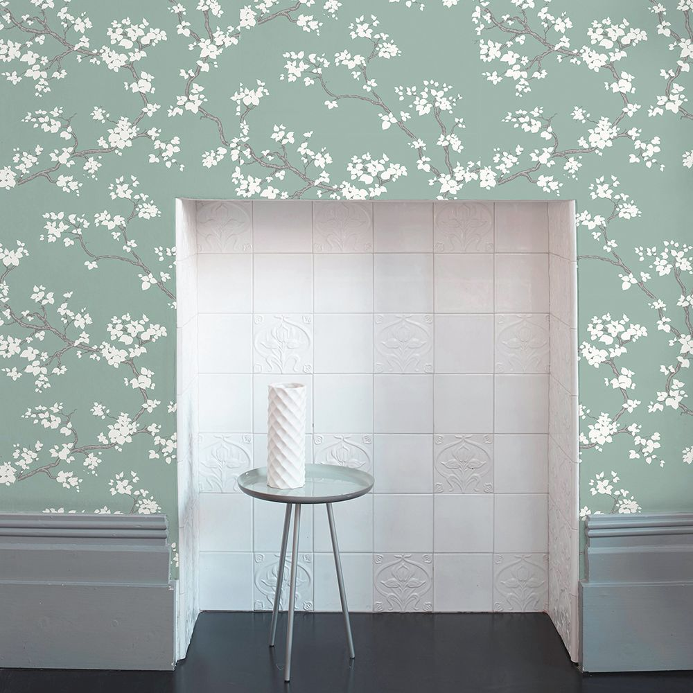 Branches Wallpaper - Mint - by Florence Broadhurst
