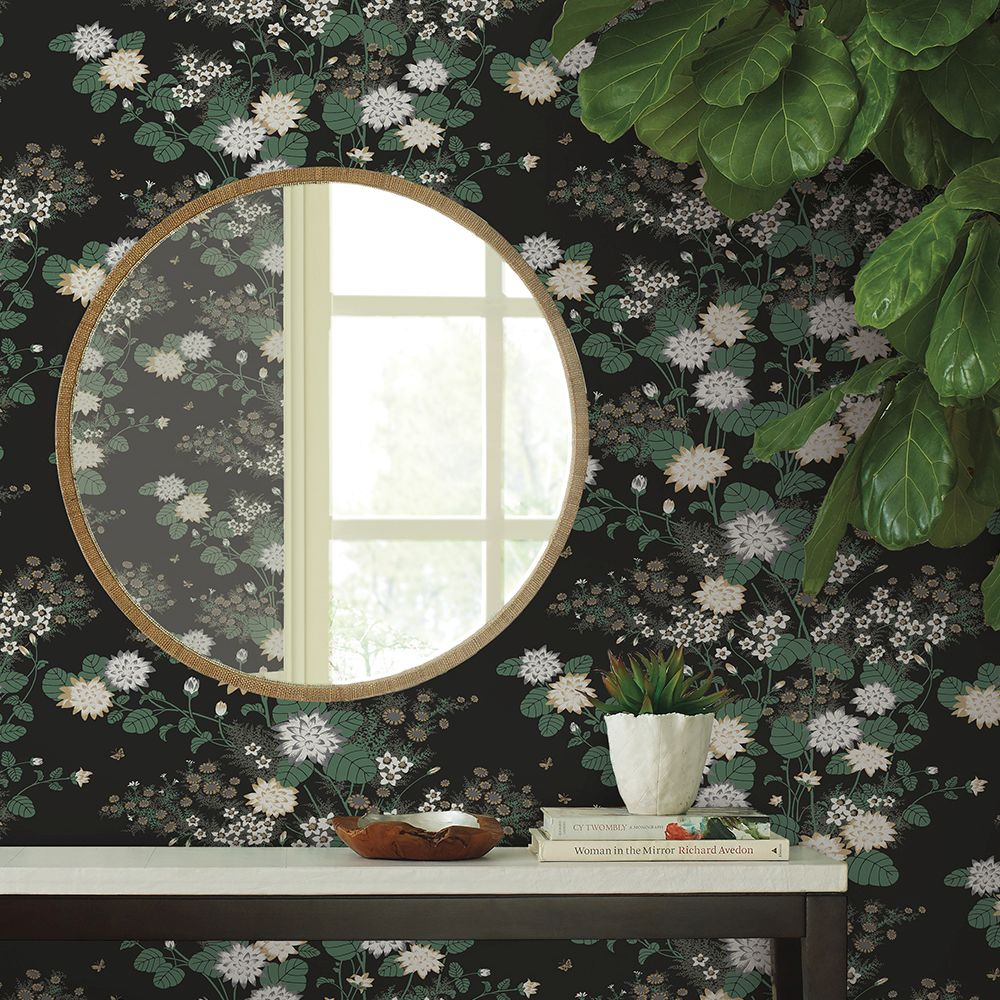 Chinese Floral Wallpaper - Black - by Florence Broadhurst