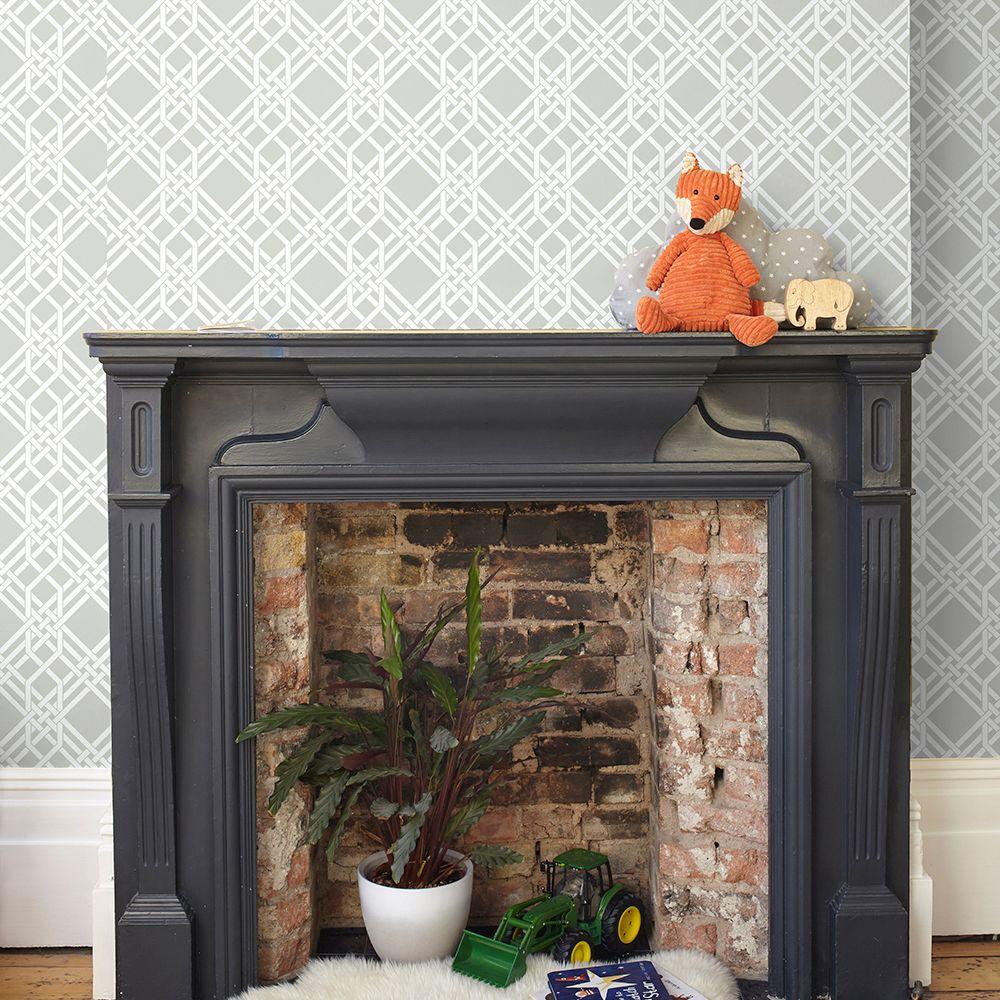 Pagoda Wallpaper - Warm Grey - by Florence Broadhurst