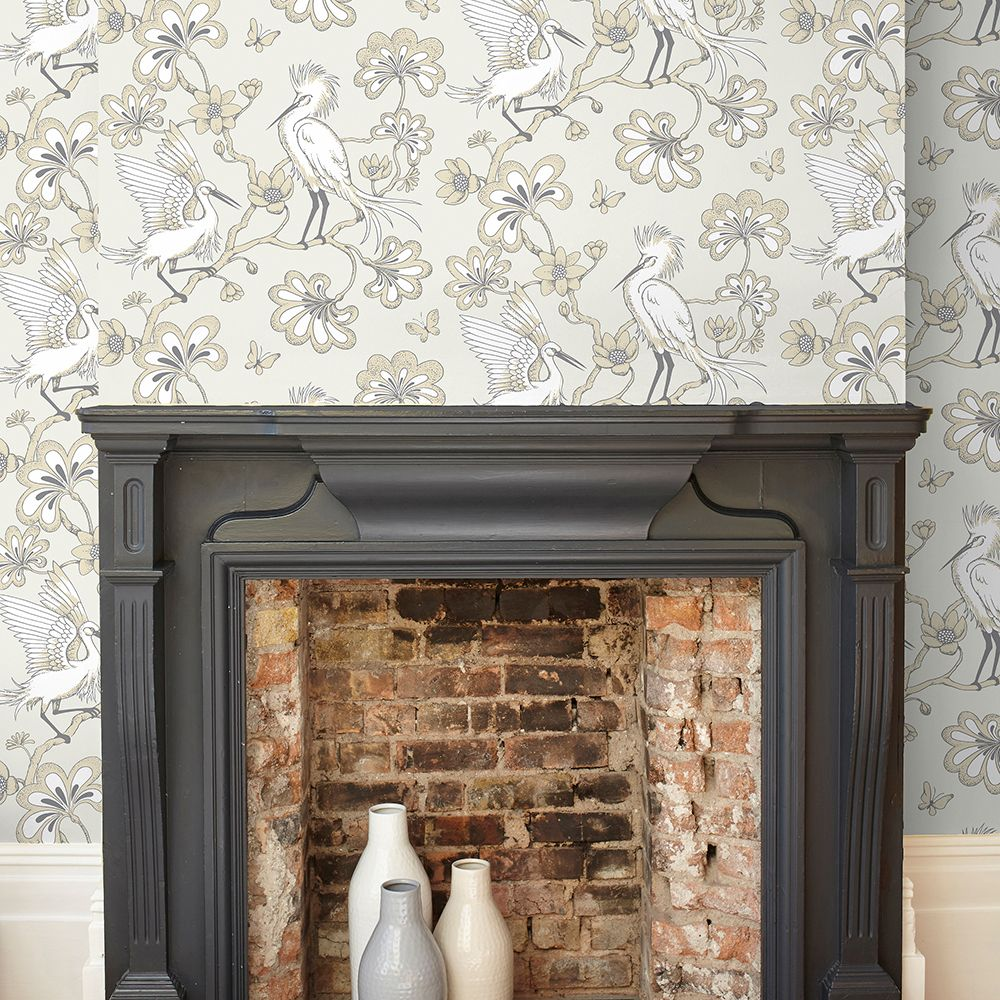 Egrets Wallpaper - Buttermilk - by Florence Broadhurst