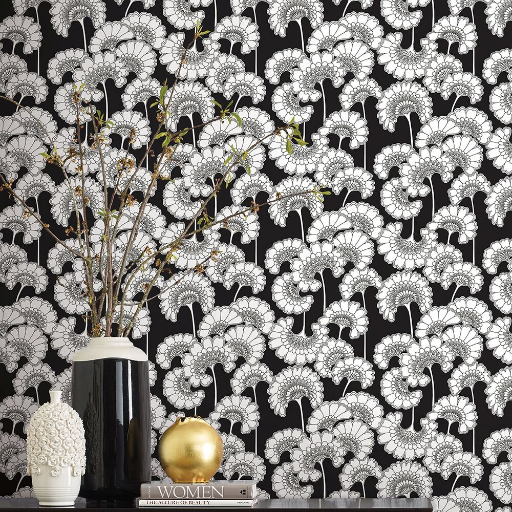 Japanese Floral Wallpaper - Black - by Florence Broadhurst