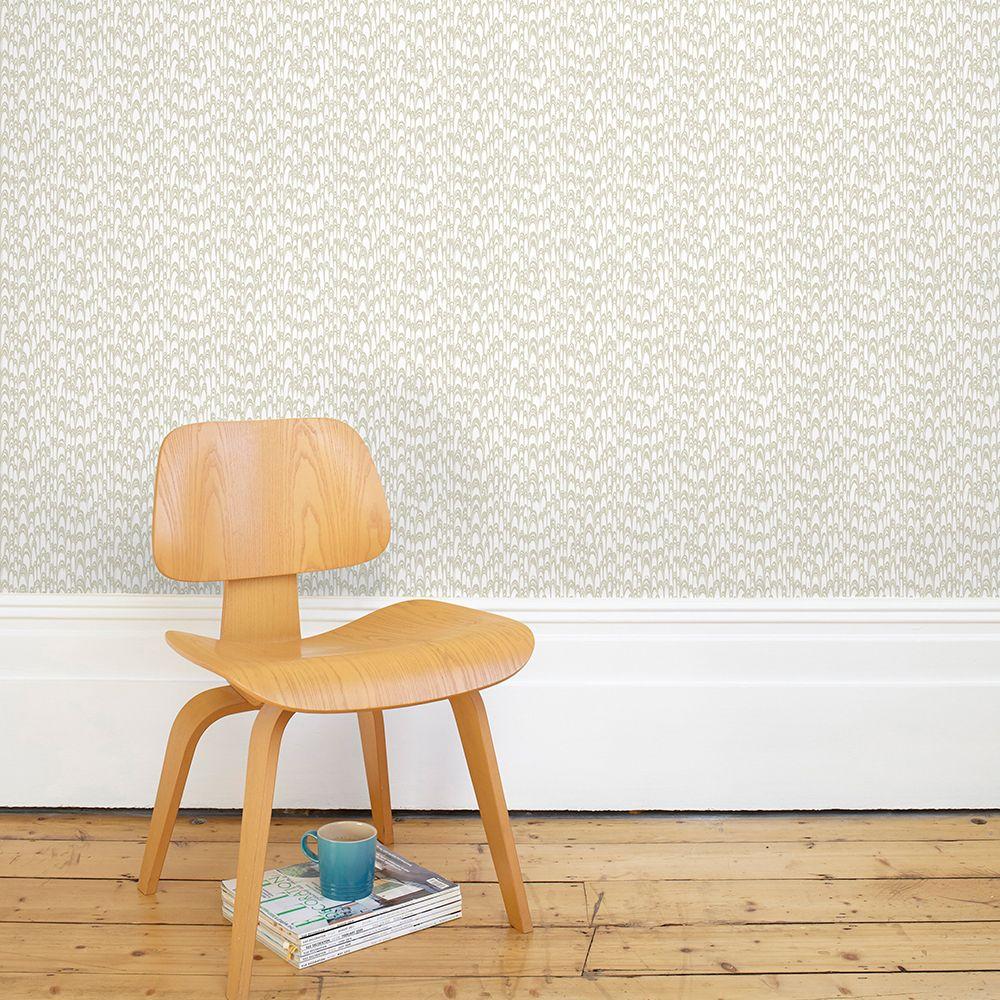 Waterjet Wallpaper - Warm Grey - by Florence Broadhurst