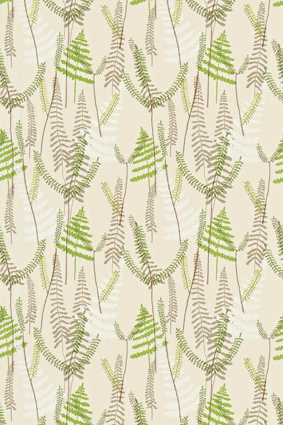 Athyrium Fabric - Hessian, Apple and Pebble - by Scion