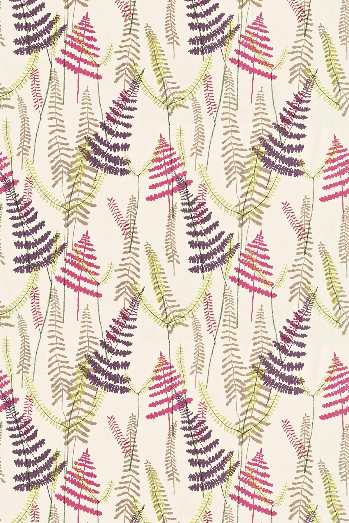 Athyrium Fabric - Plum, Fuchsia, Linen and Lime - by Scion