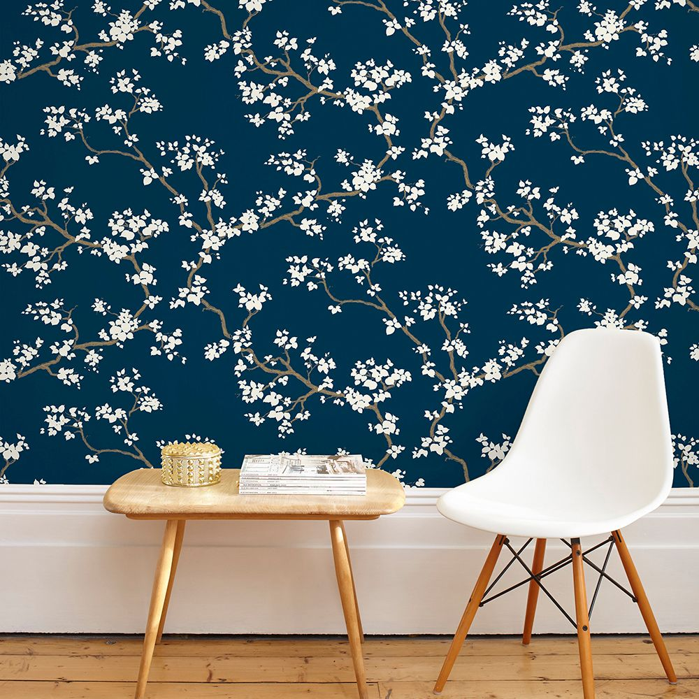 Branches Wallpaper - Deep Blue - by Florence Broadhurst