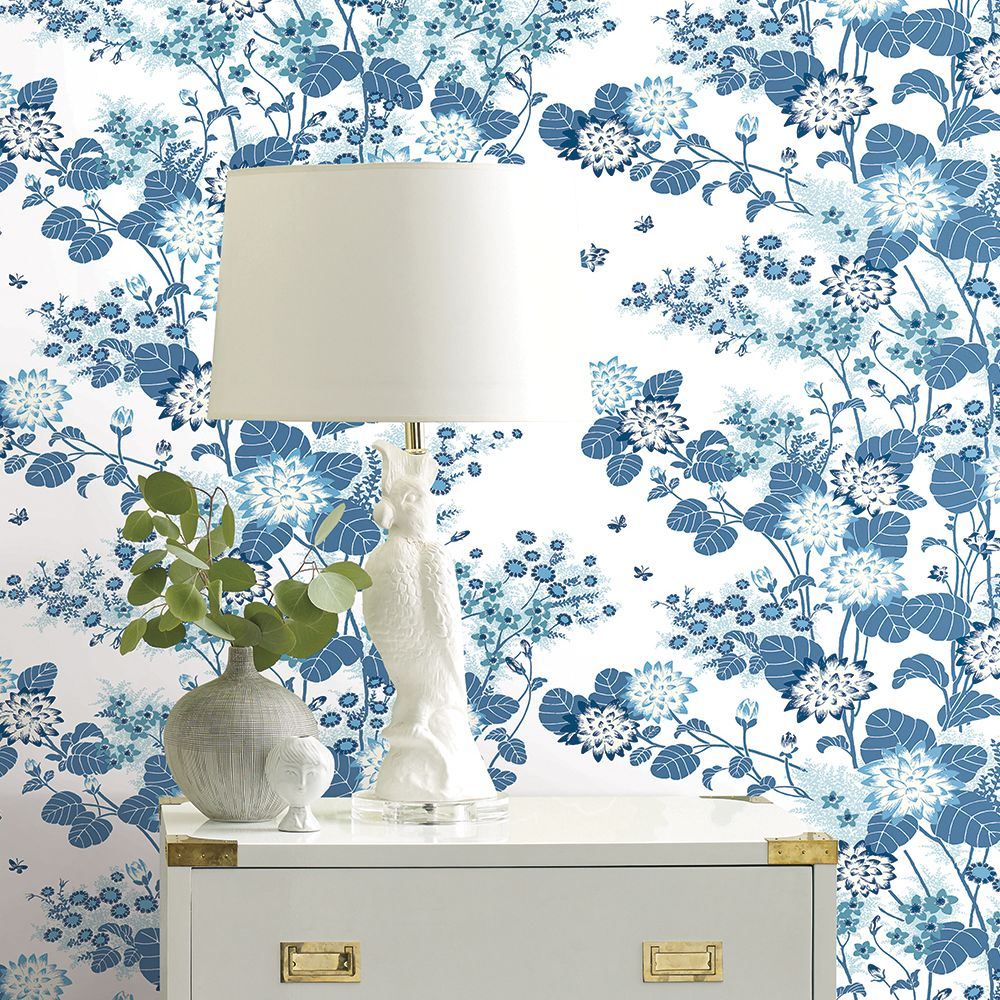 Chinese Floral Wallpaper - Blue - by Florence Broadhurst