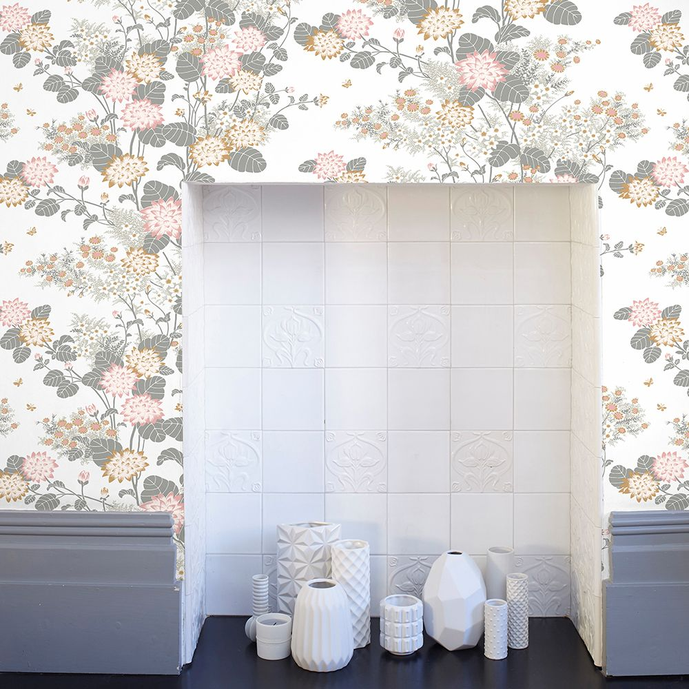 Chinese Floral Wallpaper - Pink - by Florence Broadhurst
