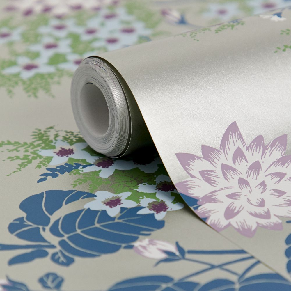 Chinese Floral Wallpaper - Pewter - by Florence Broadhurst