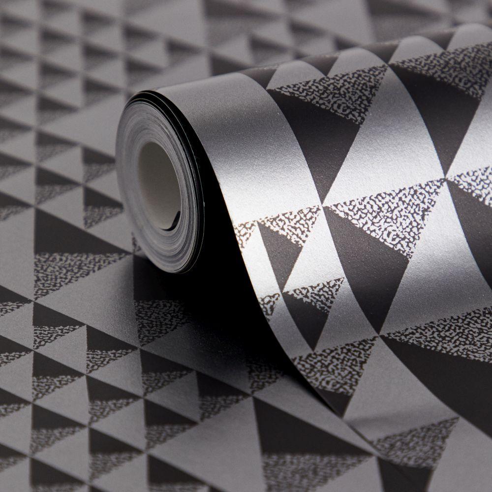Pyramids Wallpaper - Graphite - by Florence Broadhurst