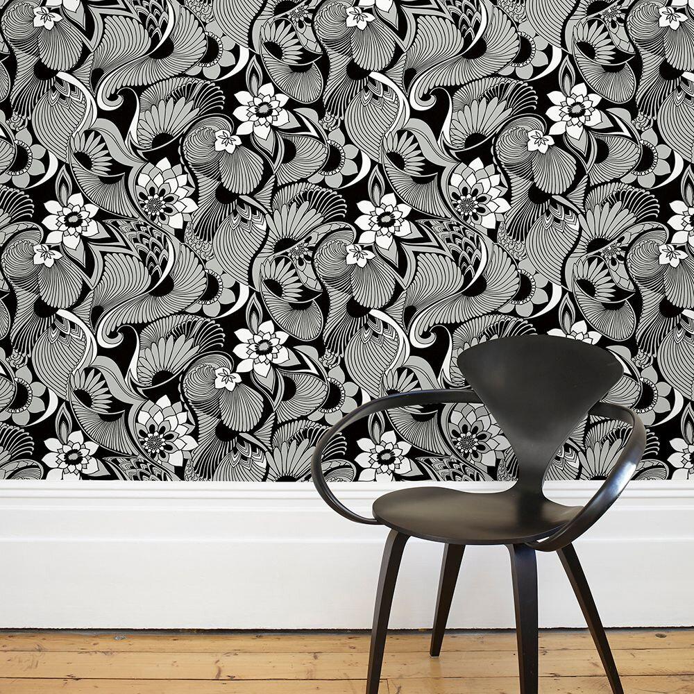 Aubrey Wallpaper - Black - by Florence Broadhurst