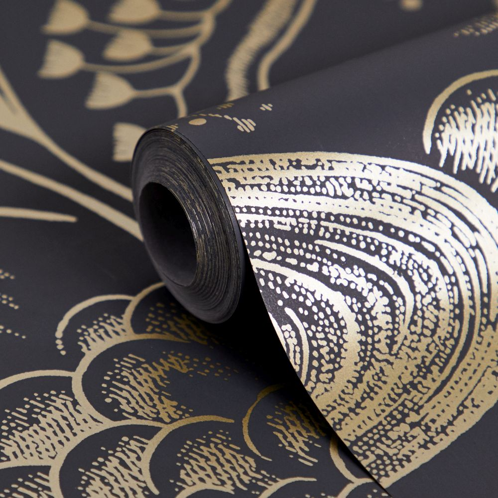 Waterfall Gardens Wallpaper - Charcoal / Gold - by Florence Broadhurst