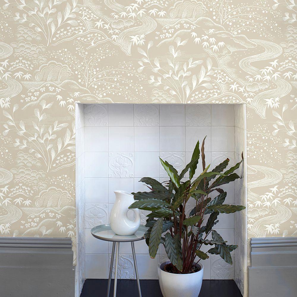 Waterfall Gardens Wallpaper - Biscuit - by Florence Broadhurst