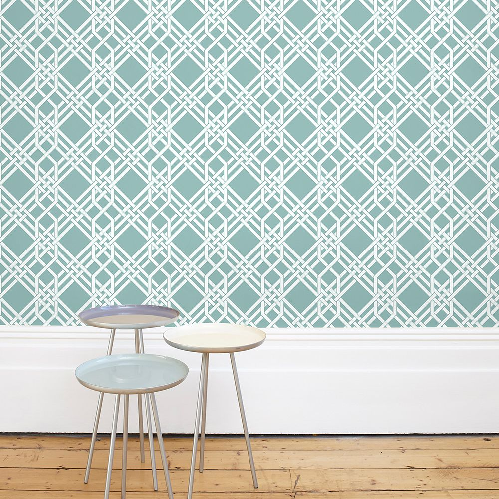 Pagoda Wallpaper - Pale Teal - by Florence Broadhurst