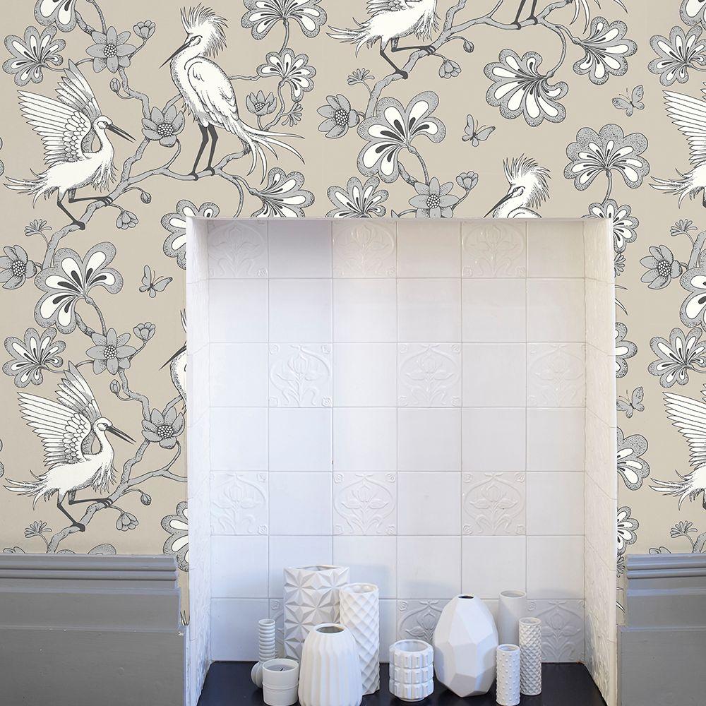 Egrets Wallpaper - Stone - by Florence Broadhurst
